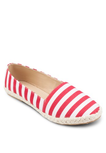條紋麻編平底鞋, 女鞋esprit床組, 鞋