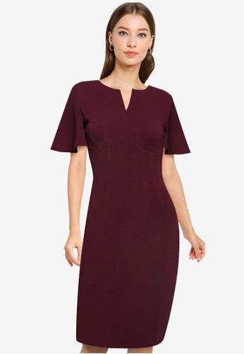 ZALORA WORK purple Bell Sleeve Notch Neck Dress AD662AAED34006GS_1
