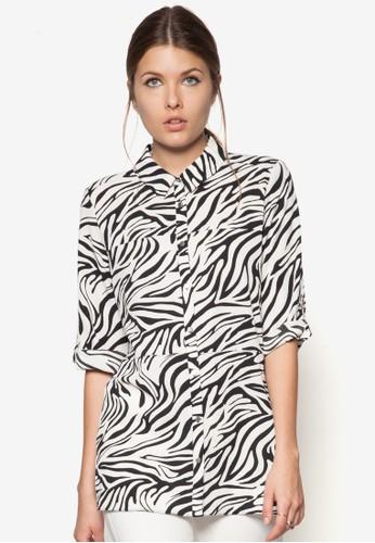 單色豹紋印花襯衫,zalora時尚購物網的koumi koumi 服飾, 服飾