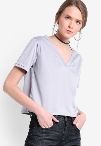 Something Borrowed grey Embroidered Sleeve Boxy Tee CA651AAE5CF0B6GS_1