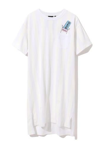 Mini cream white Vitamin pocket stripe dress 28B71AA1B6D5EBGS_1