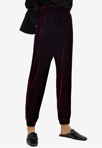 Mango red Velvet Jogger Trousers 42676AA04C4B67GS_1