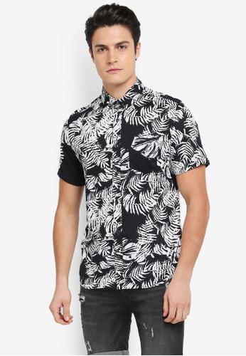 Burton Menswear London black Short Sleeve Palm Print Shirt F0ABAAAAB07C46GS_1