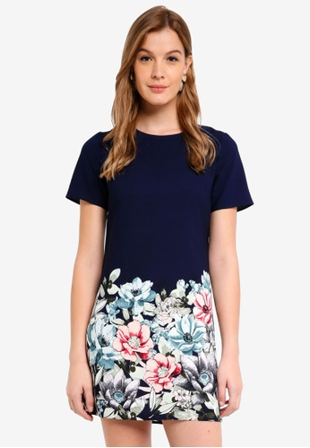 Dorothy Perkins navy Navy Floral Placement Shift Dress 8DE1AAAD46427FGS_1