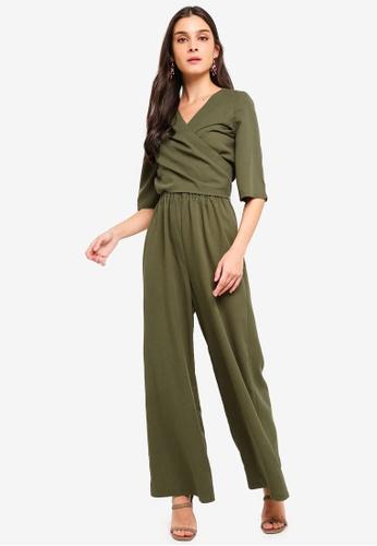 ZALORA green Kimono Sleeves Wrap Jumpsuit 87136AA83C7C94GS_1