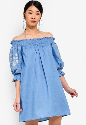 Something Borrowed blue Embroidered Smocked Off Shoulder Dress CB19EAA0C387CEGS_1