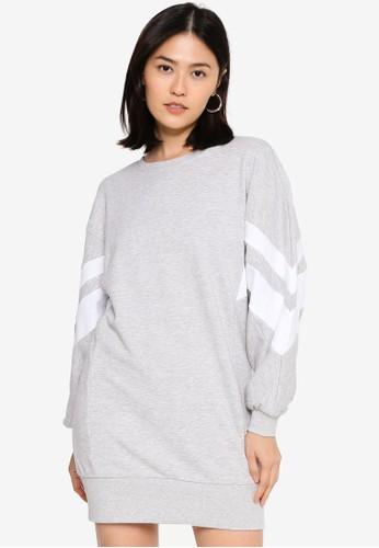 ONLY grey Jossa Long Sleeve Sporty Sweat Dress 21722AA1E0F21DGS_1