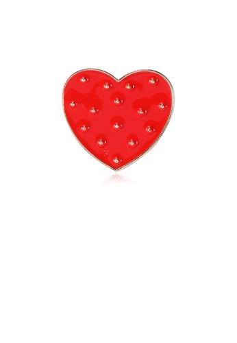 Glamorousky silver Fashion Romantic Red Heart Brooch 820EDAC6BC142FGS_1
