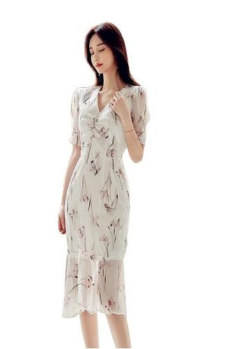 Crystal Korea Fashion white New Temperament V-neck Waist Fishtail Floral Dress F1F3BAAAE3F51BGS_1