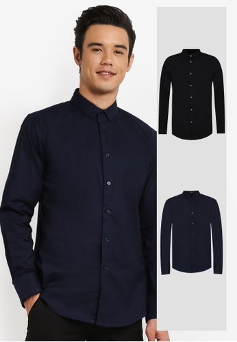 ZALORA black and navy 2 Pack Skinny Fit Oxford Long Sleeve Shirt ZA819AA0RO1DMY_1
