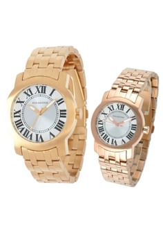 Set of 2 Watches, man and lady, steel rose gold plated, 15WR-EML-EMY-RB