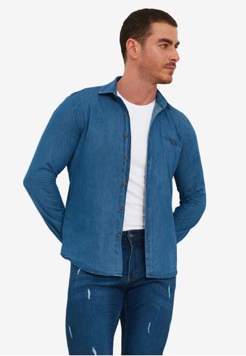 Trendyol navy Slim Fit Pocket Denim Shirt 9864DAA8B1669BGS_1