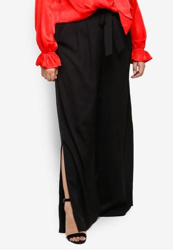 ELVI black Plus Size Black Wide Leg Trousers 1917DAA5F913F7GS_1