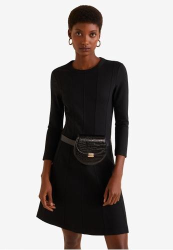 Mango 黑色 織修身喇叭裙短洋裝 574A2AA5ACF6F2GS_1