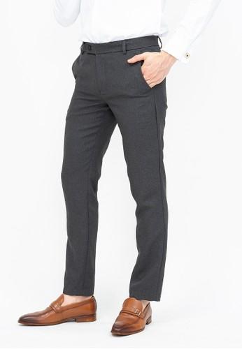 House of Cuff grey Celana panjang pria slim fit kerja formal button celana bahan stretch abu tua BC53DAA0CB57FFGS_1