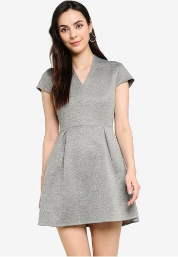 ZALORA WORK grey V Neck Pleated Dress 78BD9AA56C4337GS_1
