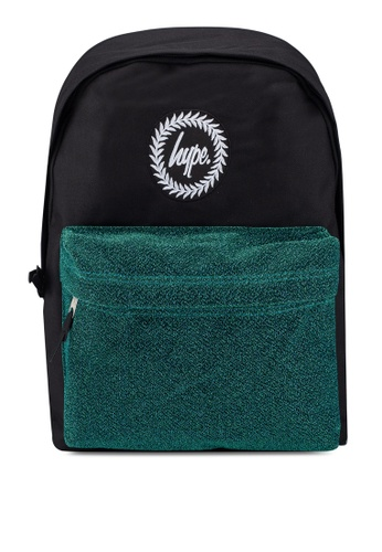 Just Hype black and green Velour Pocket Backpack 2518DACE19F311GS_1