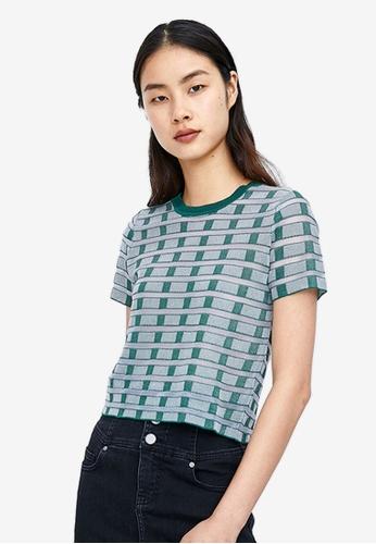 Urban Revivo green Checked Knitted T-shirt 79091AA5D9CAE3GS_1