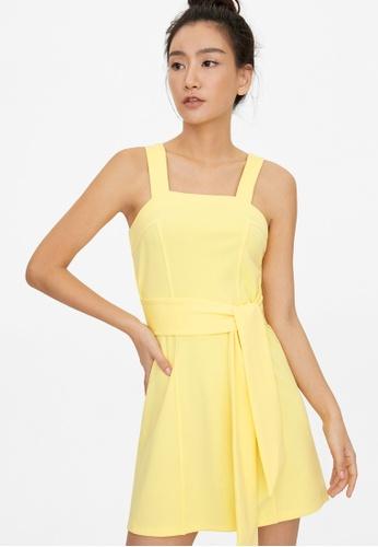 Pomelo yellow Mini Square Neck Tied Waist Dress - Yellow B9671AAD196518GS_1