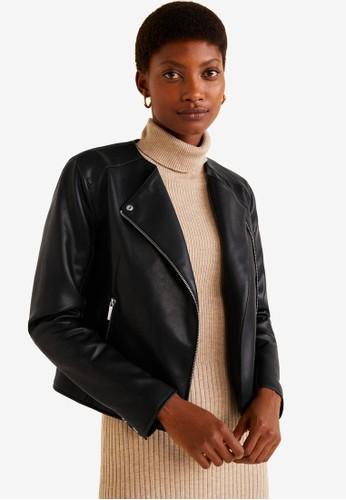 MANGO black Zipped Biker Jacket D6C34AA0FF068AGS 1 595de4d4bf