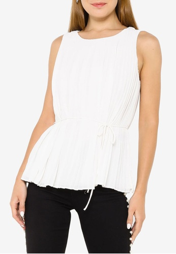 Banana Republic white Sleeveless Pleated Belted Top A9237AA0F1A183GS_1