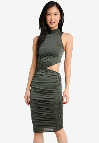 MISSGUIDED green High Neck Slinky Cut Out Waist Midi Dress A74CAAA1C9F2EDGS_1