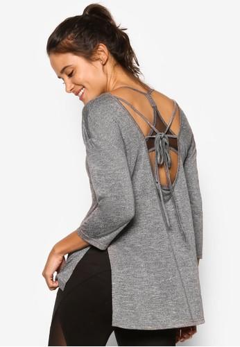 背部繫帶寬鬆七分袖運動TEE, 服esprit台灣門市飾, 服飾