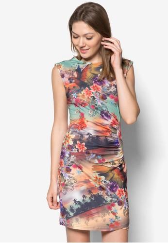 Camesprit官網pari 抓皺印花連身裙, 服飾, 夏日洋裝