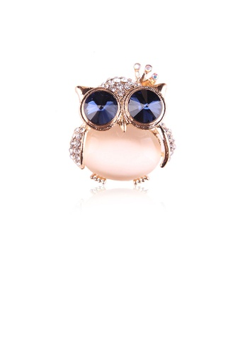 Glamorousky white Fashion and Cute Plated Gold Owl White Imitation Opal Brooch with Cubic Zirconia 13A85AC140672FGS_1