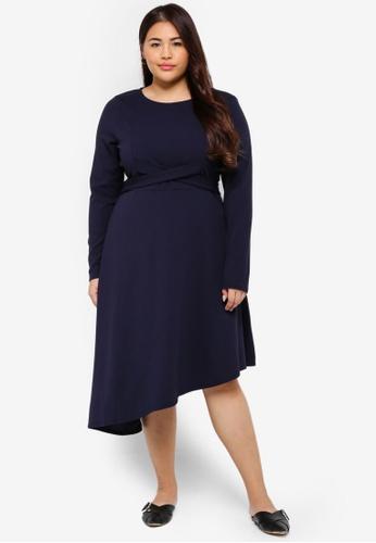 LOST INK PLUS navy Plus Size Dress With Cross Tie Waist A70BEAA86ADB53GS_1
