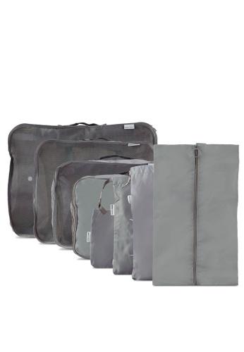 Bagstationz grey Premium Travel Bag And Pouch Set BA607AC0RNP8MY_1