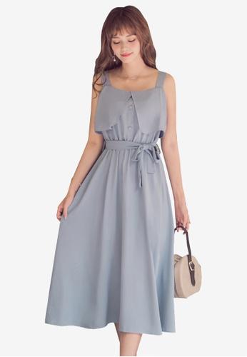 Yoco blue Sleeveless Dress With Belt 45EDCAA6B68F41GS_1