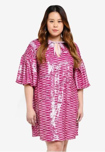 ELVI purple Plus Size Artemisia All-Over-Sequin Dress 8CAE3AA26BE604GS_1