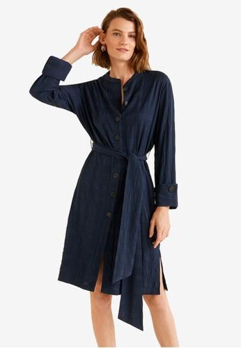 Mango blue Textured Checked Dress D5E17AA7D1370DGS_1