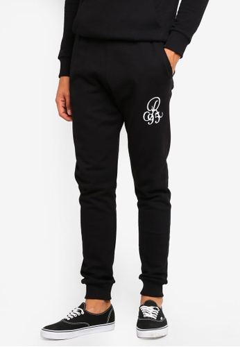 River Island black R95 Embroidered Joggers 966FBAA32EA596GS_1