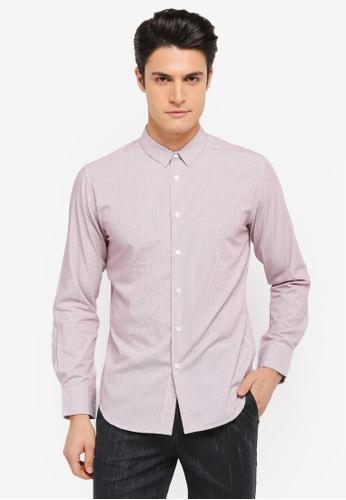 ZALORA red Skinny Fit Formal Striped Long Sleeve Shirt 8D968AA4ECC73CGS_1