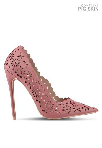 LOST INK pink Pansie Laser Cut Court Heels BA012SH177E478GS_1