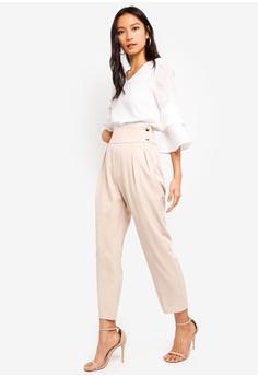 c19ce61a1c2 15% OFF ZALORA Pleated Pants With Button Details RM 95.00 NOW RM 80.90 Sizes  XS S M L XL