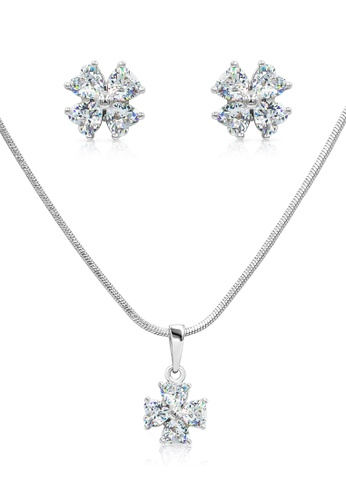 SO SEOUL silver Four Clover Clear Diamond Simulant Earrings And Necklace Set 4C0C6ACA780410GS_1