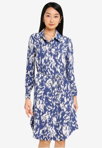 ZALORA BASICS blue Curved Hem Shirt Dress 45CC4AA1F01735GS_1
