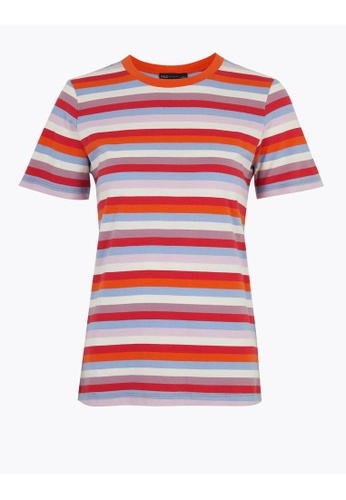 MARKS & SPENCER red M&S Pure Cotton Striped Straight Fit T-Shirt AF3D6AAB65AFE7GS_1