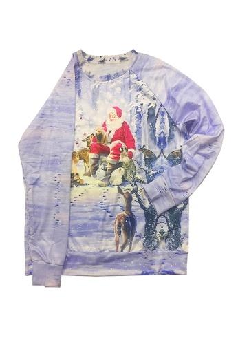 Twenty Eight Shoes blue VANSA Santa Motif Pattern Long-Sleeved Sweatshirt VCW-Ss001 5103AAACBA6231GS_1