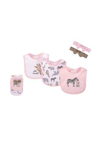 Little Kooma white and pink Baby Girls Bibs n Headwraps 5 Piece Pack 52562 - 0805 AEFB5KC04A9867GS_1