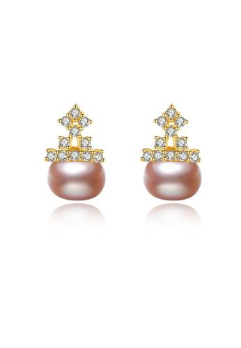 SUNRAIS gold Premium colored stone golden crown earrings E2CBFACC54F955GS_1