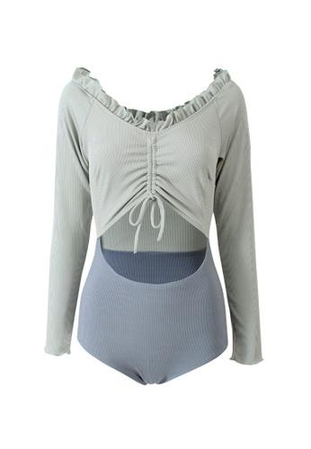 ZITIQUE blue Women's Stylish Long Sleeve Ruffled One-piece Swimsuit - Blue 2B721US9BC565AGS_1