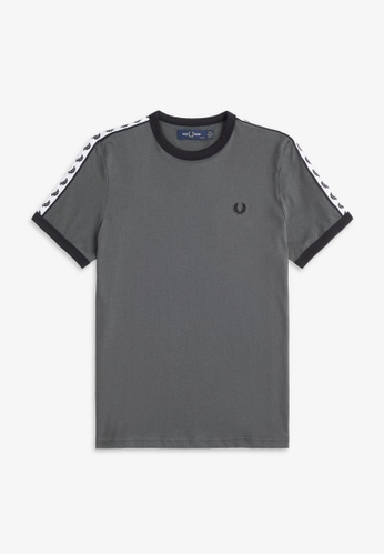 Fred Perry grey and blue G6347 - Taped Ringer T-Shirt - (SLATE) D3FD1AA7429915GS_1