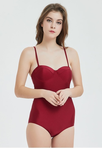 Shapes and Curves red Push Up One Piece Backless Monokini Swimwear 1C127US283666FGS_1