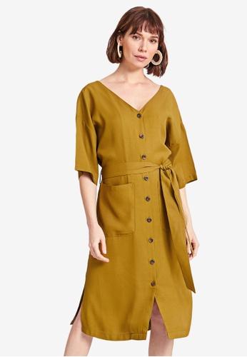 LC WAIKIKI green Tie Waist Viscose Dress F40D4AAD8EC813GS_1