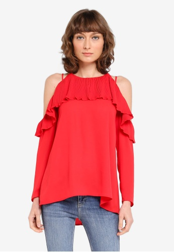 River Island red Veronica Pleated Blouse RI009AA0SZF9MY_1