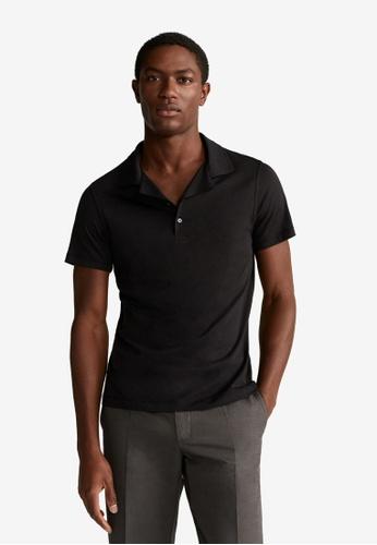 MANGO Man black Cotton Knit Shirt 9F350AADE1BD81GS_1